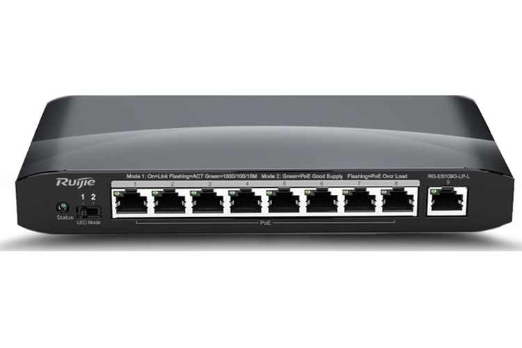 RUİJİE - REYEE RG-ES109G-LP-L 8-Port Gigabit Switch, 9 Gigabit RJ45 ports, external AC-DC power adaptor, support PoE/ PoE+, PoE power budget: 54W